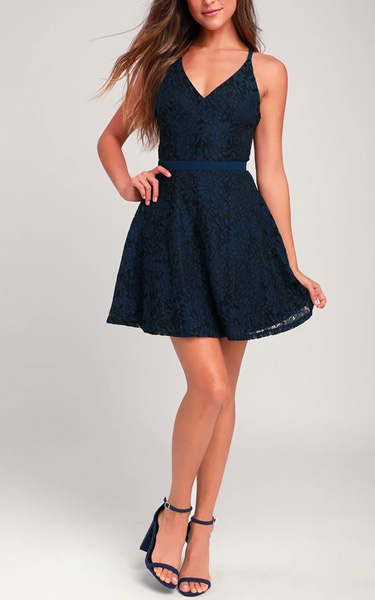 5653341f84 Dancing In The Moonlight Navy Blue Lace Backless Skater Dress ...