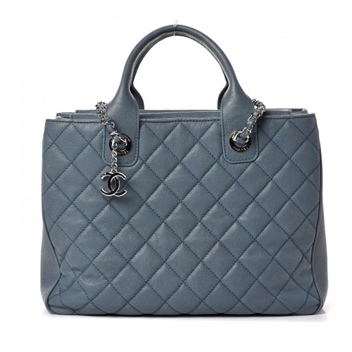 c68e148ea79699 CHANEL Caviar Quilted Top Handle Shopping Tote Light Blue - FAVHQ.com