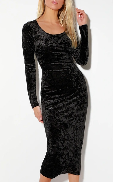 Black velvet bodycon midi dress with sleeves