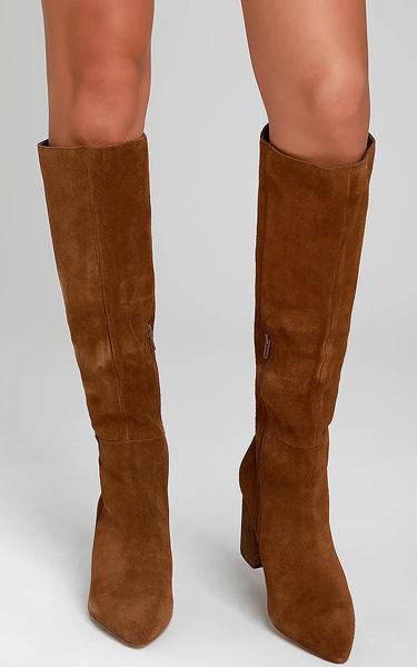 ebec62f4093 Steve Madden Serve Chestnut Suede Leather Knee-High Boots - FAVHQ.com