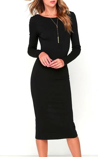 0bac28e3bc1 Va Va Voom Black Backless Midi Dress - FAVHQ.com